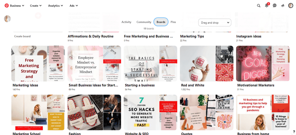 Pinterest Boards for Vivacity Marketing