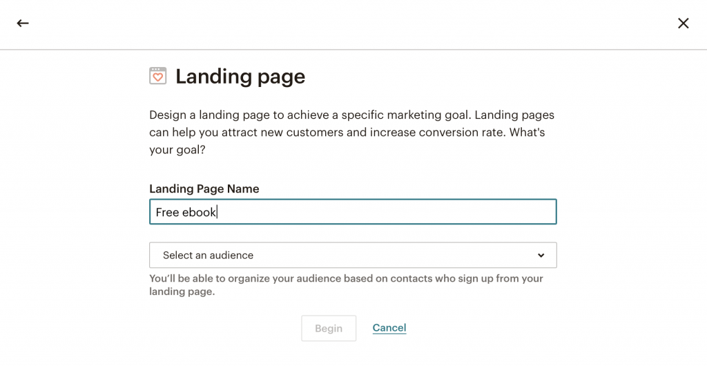 setting up a landing page in MailChimp