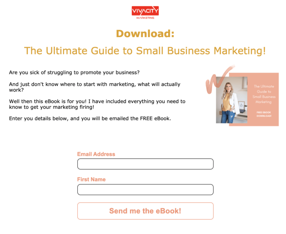 Landing page in MailChimp