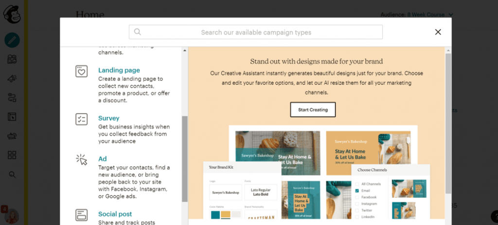 Build a landing page in MailChimp